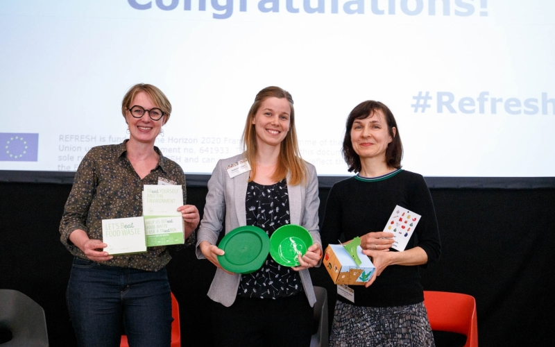The three winners of the REFRESH 'Doggy Bag' Design Contest 2019 in Barcelona.